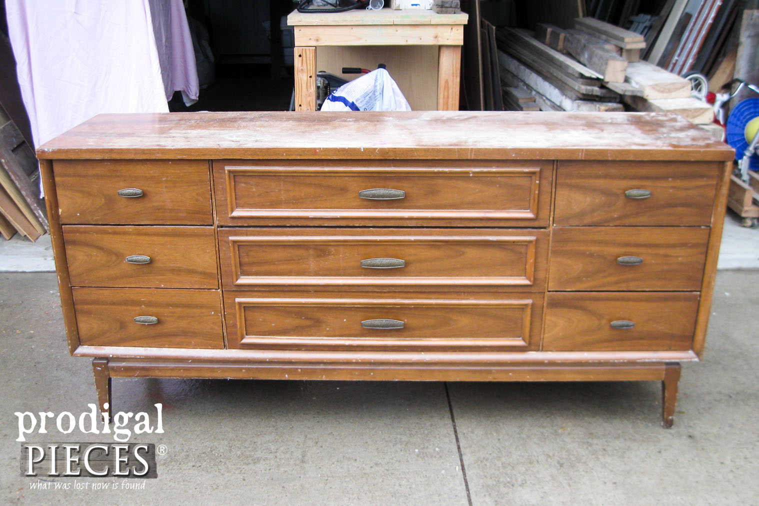 Before of Mid Century Modern Credenza | Prodigal Pieces | www.prodigalpieces.com