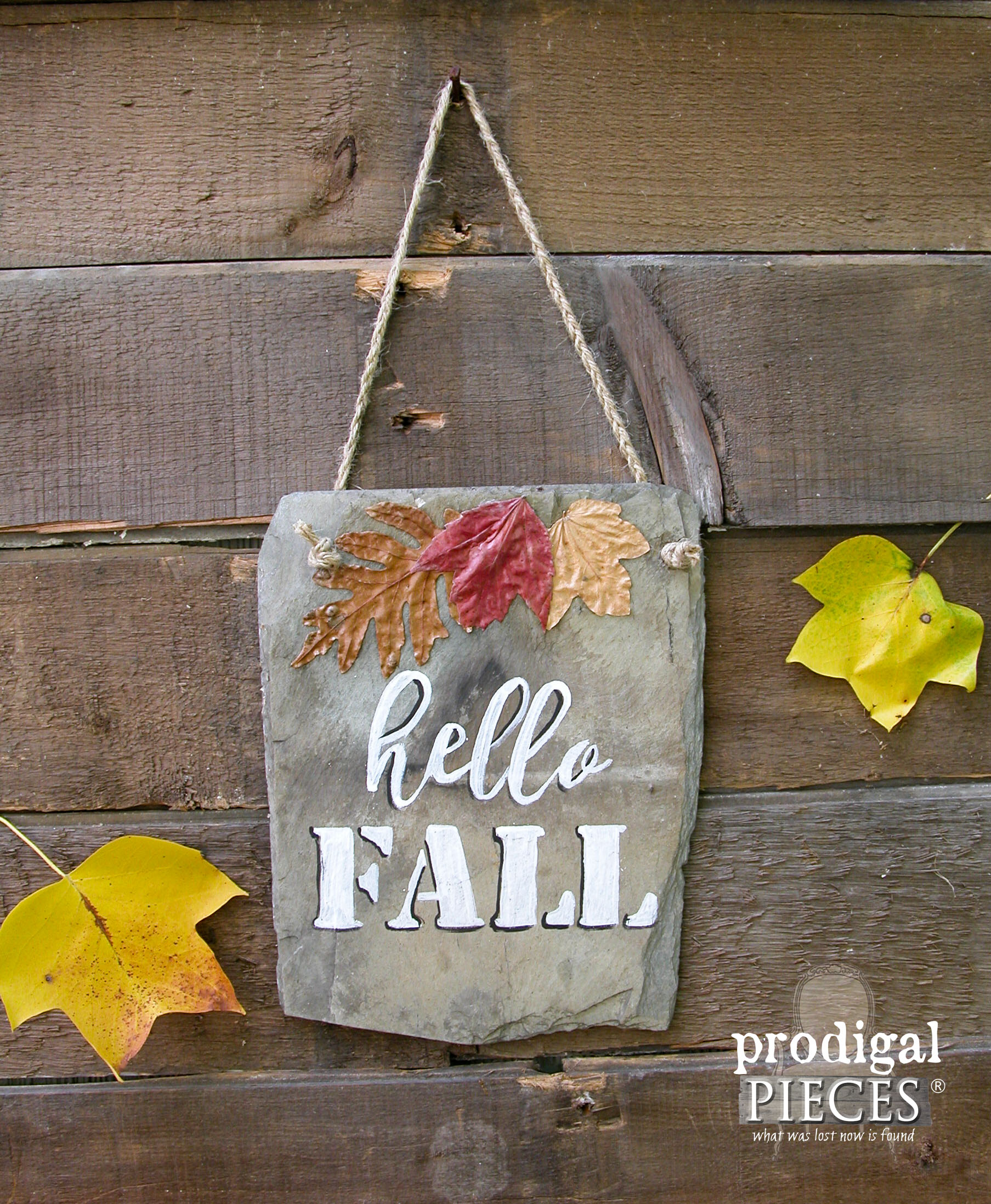 Hello Fall Sign Painted on Reclaimed Barn Roof Slate Shingel by Prodigal Pieces | www.prodigalpieces.com