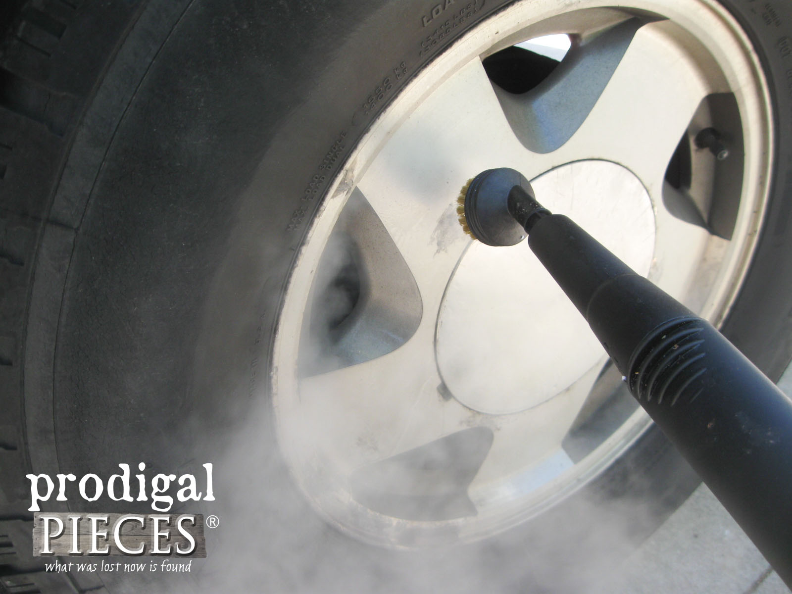Chemical Free Tire Cleaning with the AutoRight Steam Machine by Prodigal Pieces | www.prodigalpieces.com