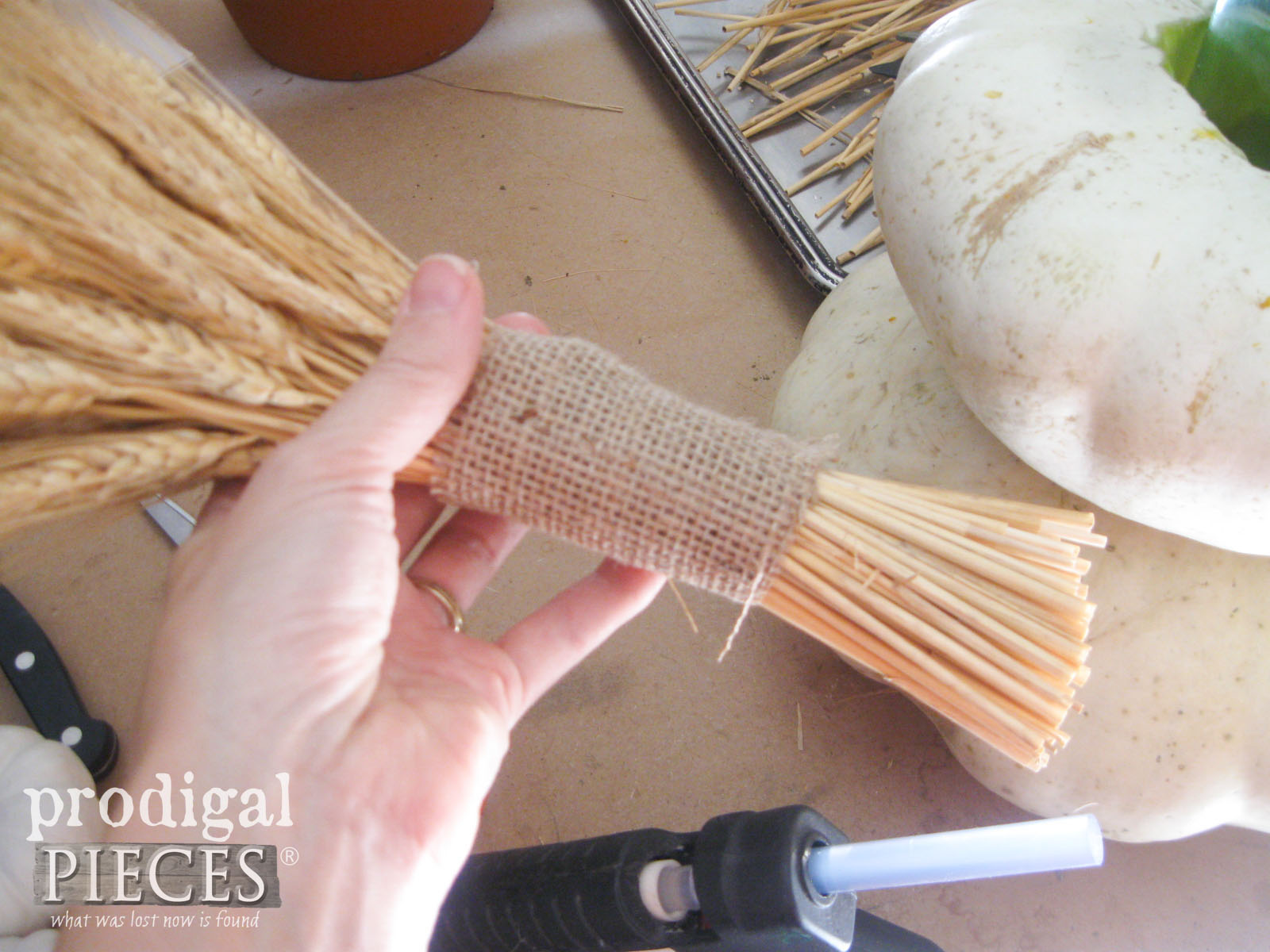 Burlap Wrapped Wheat | Thanksgiving Centerpiece Tutorial | Prodigal Pieces | www.prodigalpieces.com