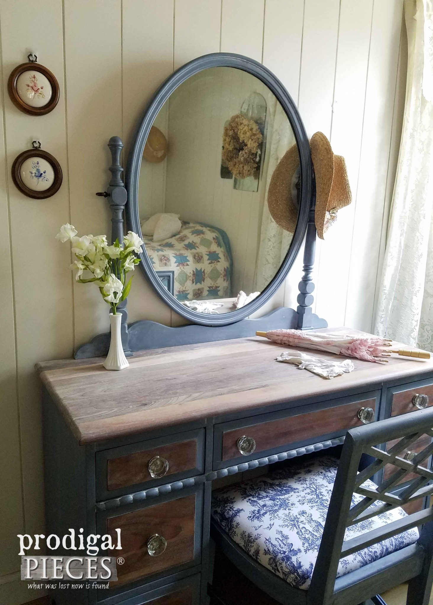Vintage Vanity Made New with a French Country Cottage Feel by Prodigal Pieces | prodigalpieces.com