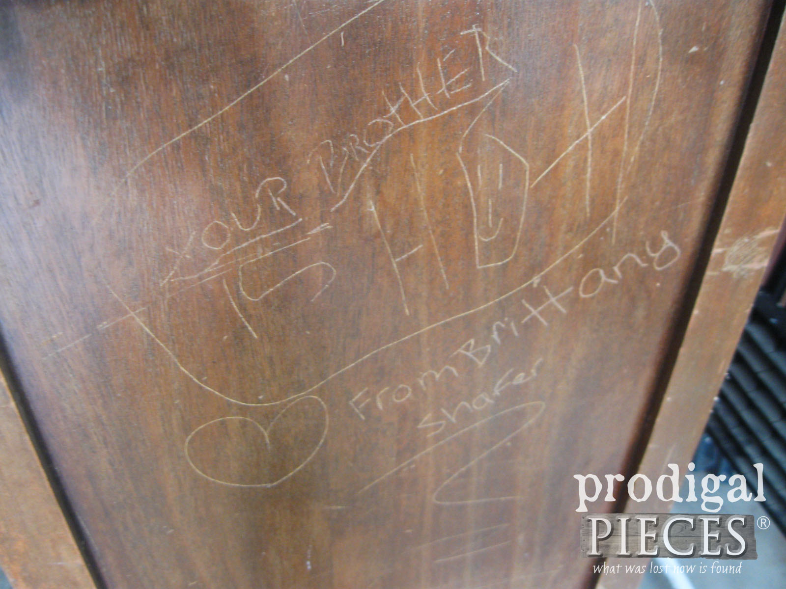 Carved Messages on Vintage Buffet | Prodigal Pieces | www.prodigalpieces.com