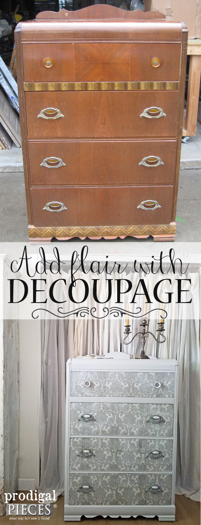 add flair to your furniture with decoupage diy tutorial by prodigal pieces www decoupage ideas for furniture t93 decoupage