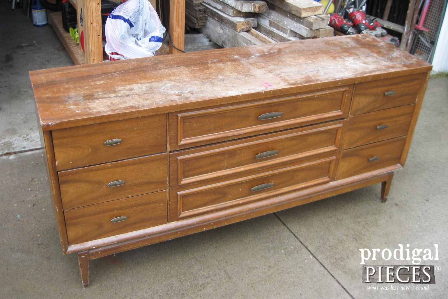 Top of Mid Century Modern Dresser with Damage | Prodigal Pieces | www.prodigalpieces.com