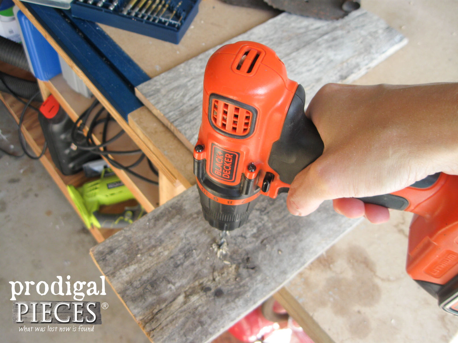 Drilling Reclaimed Wood for Repurposed Candle Sconces | Prodigal Pieces | www.prodigalpieces.com
