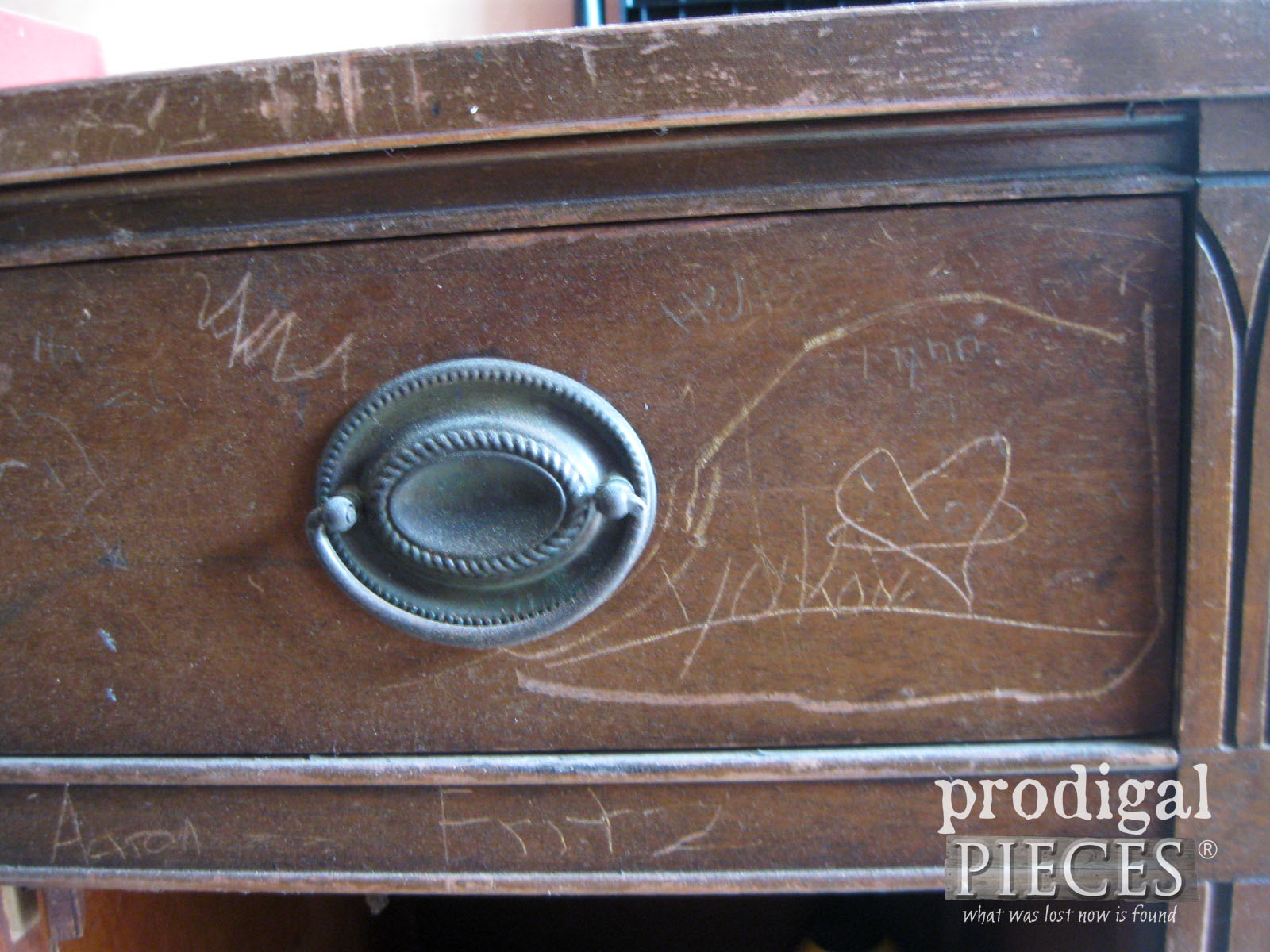 More Carvings on Vintage Buffet | Prodigal Pieces | www.prodigalpieces.com