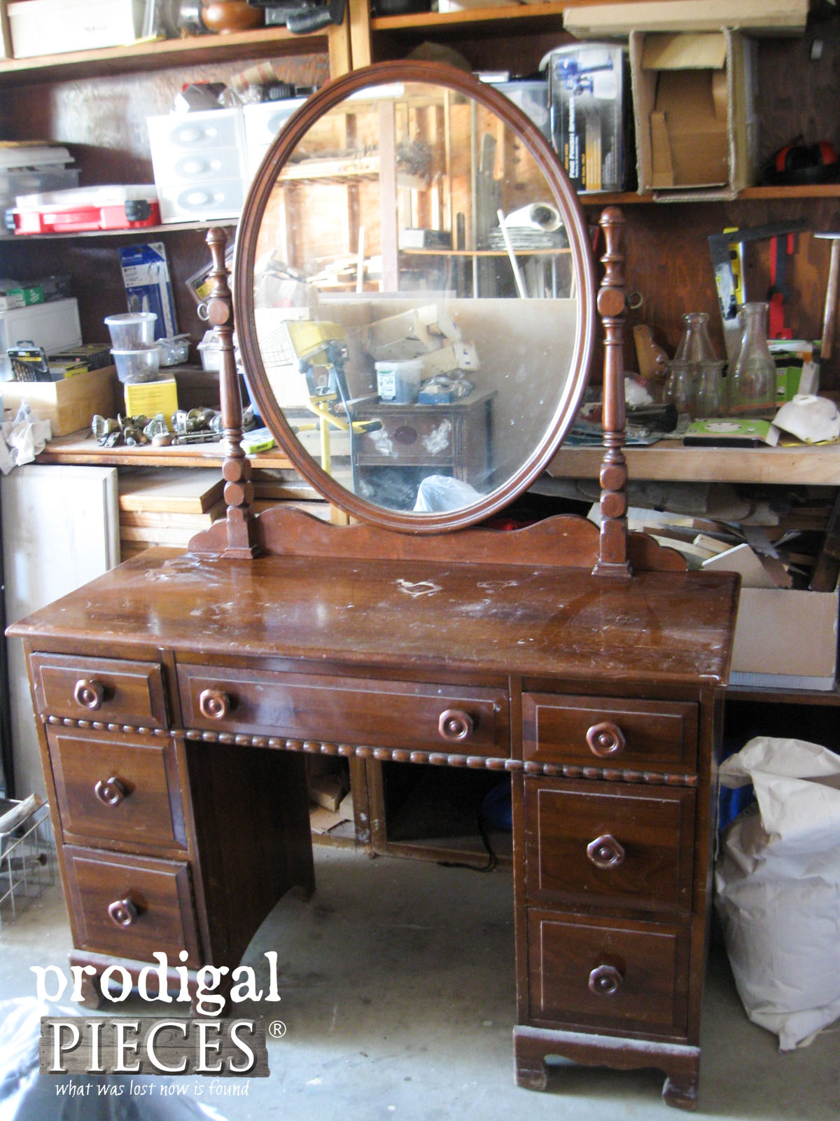 Vintage Kroehler Vanity Before Whitewashed Makeover by Prodigal Pieces |  www.prodigalpieces.com - Vintage Vanity With French Country Cottage Style - Prodigal Pieces