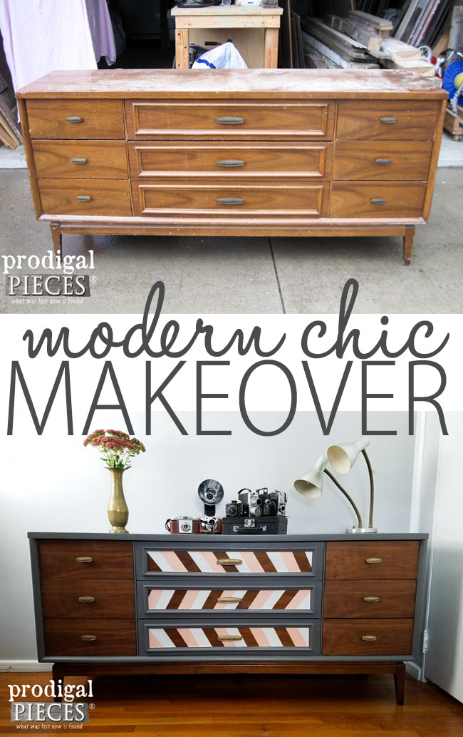 Modern Chic Makeover of a Mid Century Modern Dresser Credenza by Prodigal Pieces | www.prodigalpieces.com