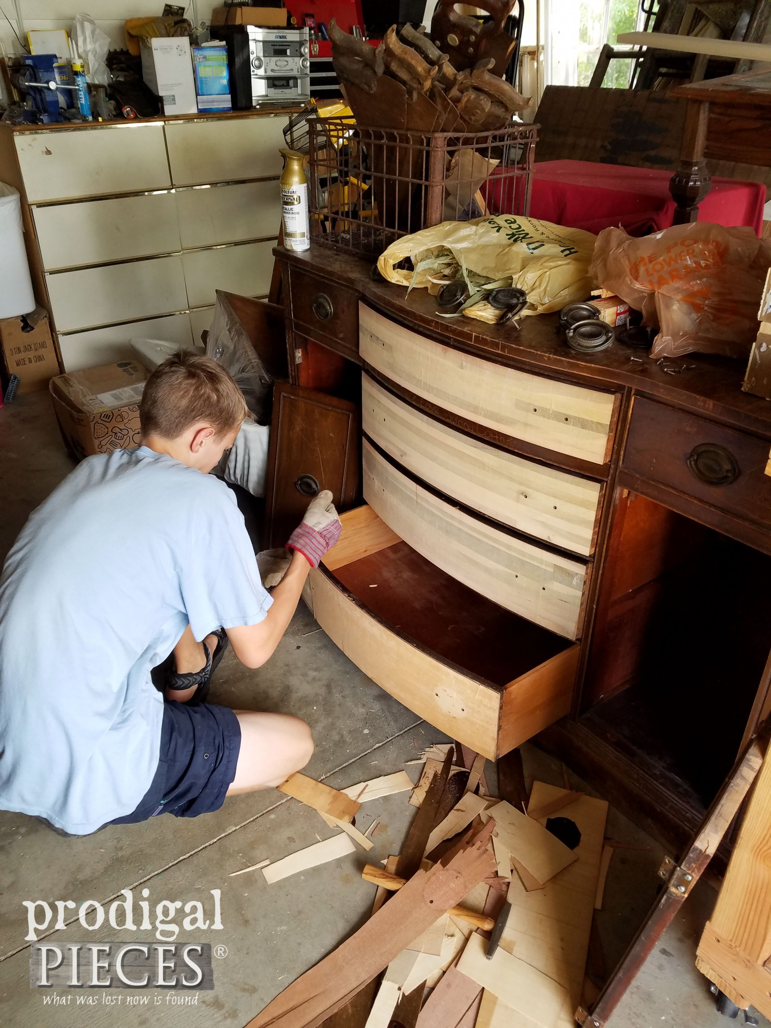 Teenager Giving Vintage Duncan Phyfe Buffet a Facelift | Prodigal Pieces | www.prodigalpieces.com
