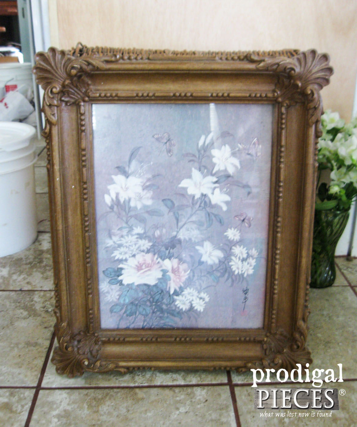Thrifted Art Before Faux Mirror Makeover by Prodigal Pieces | www.prodigalpieces.com