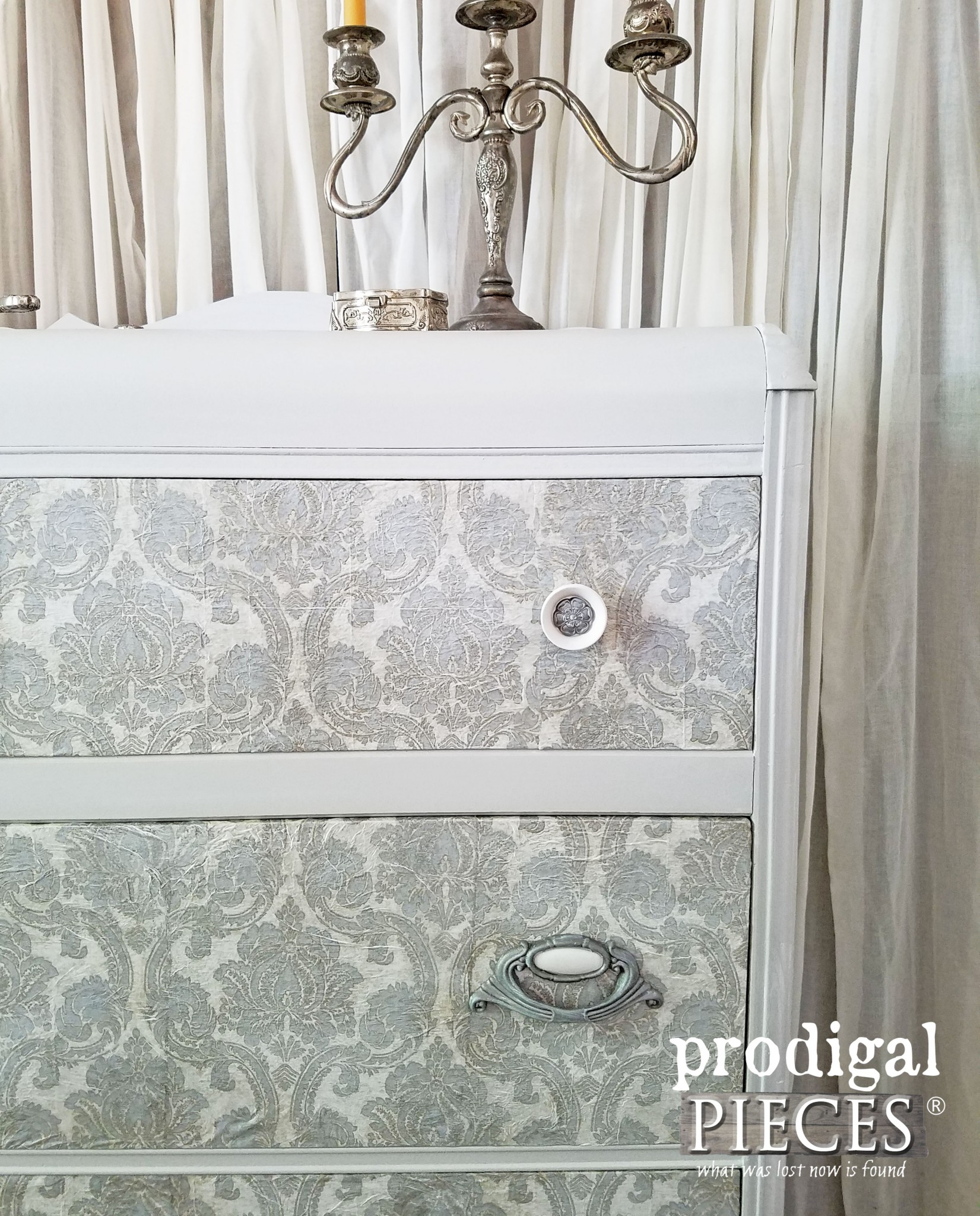 Decoupaged Drawer Fronts on Art Deco Waterfall Chest by Prodigal Pieces | www.prodigalpieces.com
