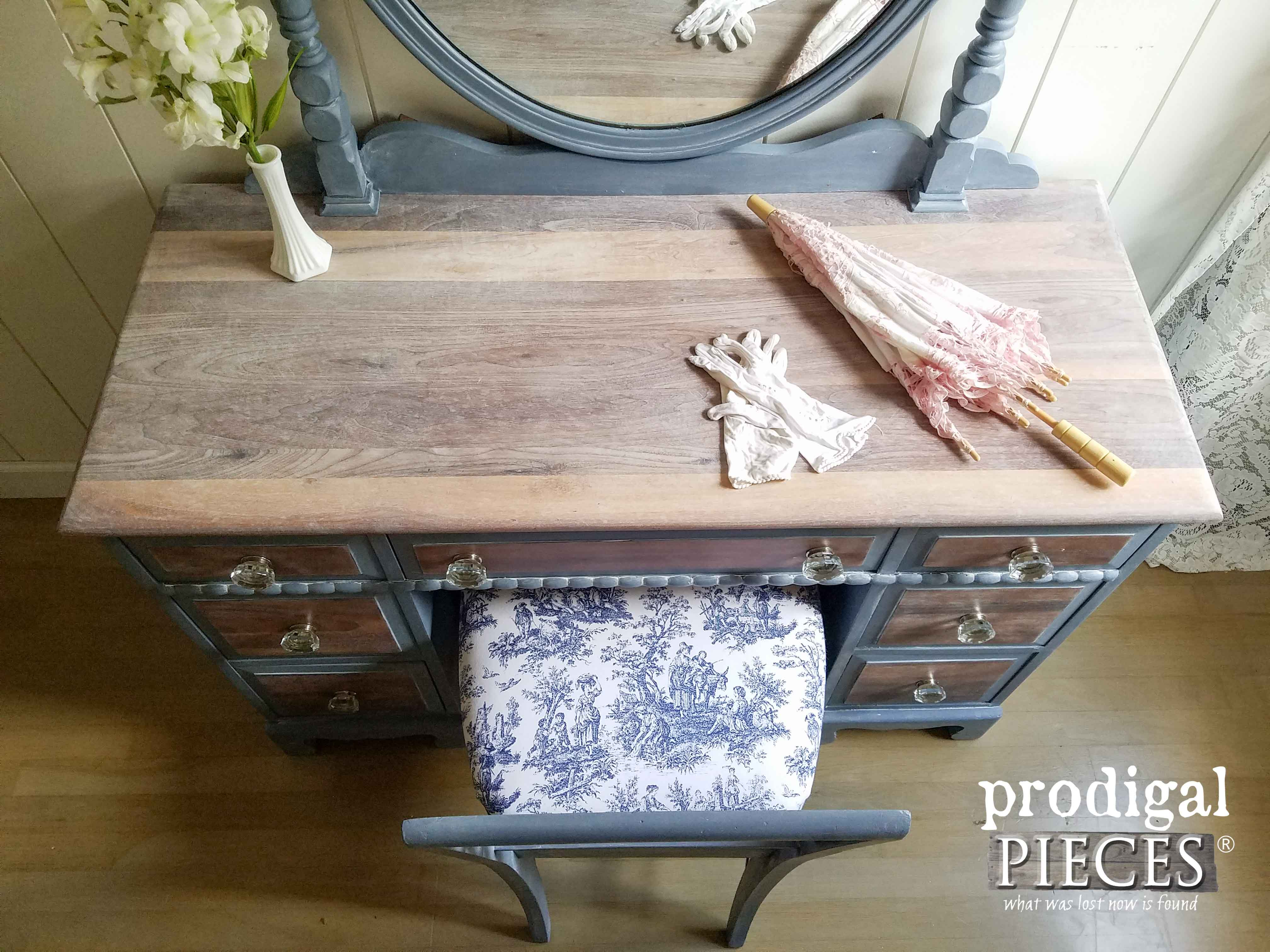 Whitewashed Vintage Vanity with French Country Cottage Blue by Prodigal Pieces | www.prodigalpieces.com