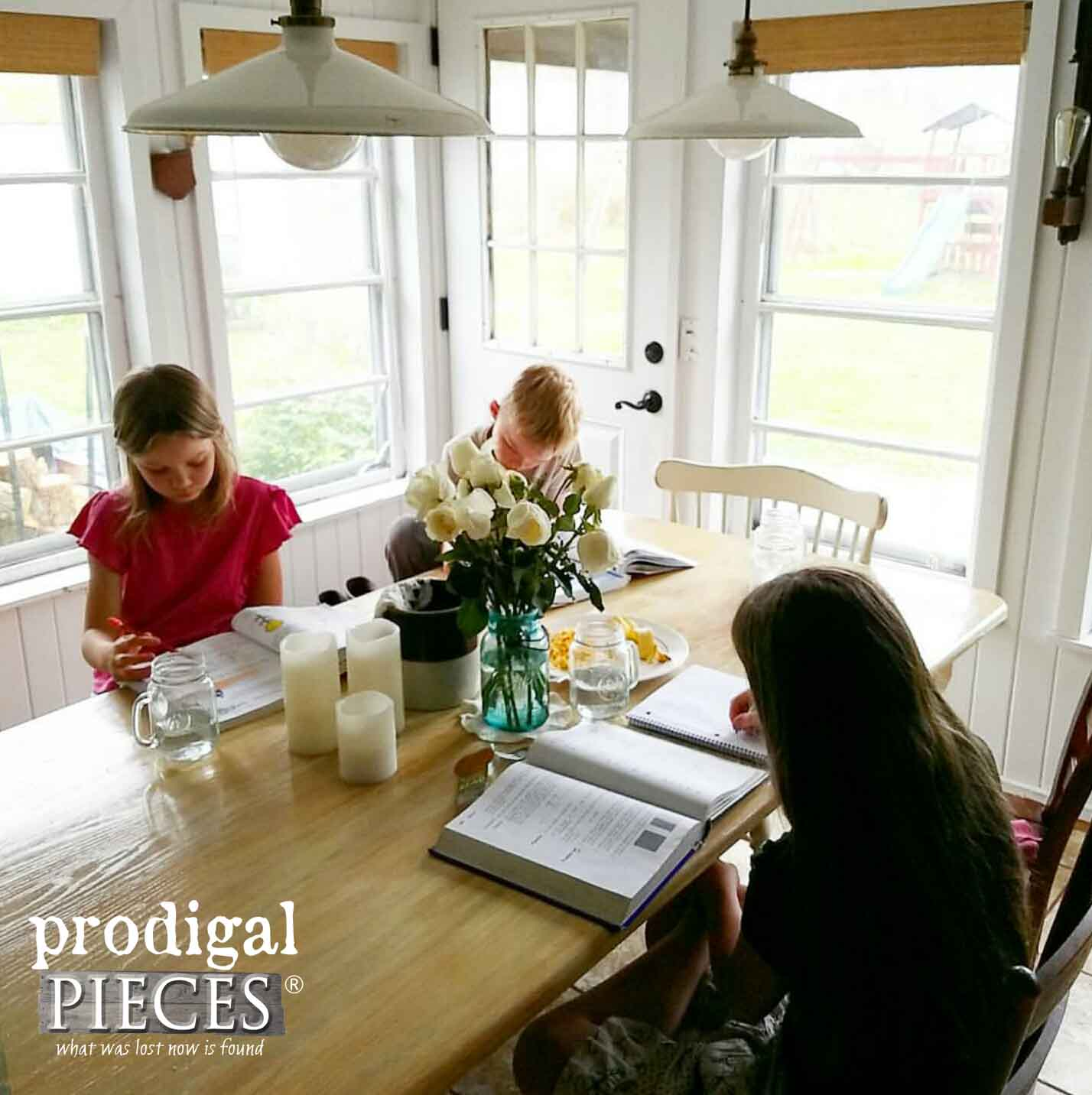 Children Working on Homeschool Work | Budgeting Business while Homeschooling | Prodigal Pieces | www.prodigalpieces.com