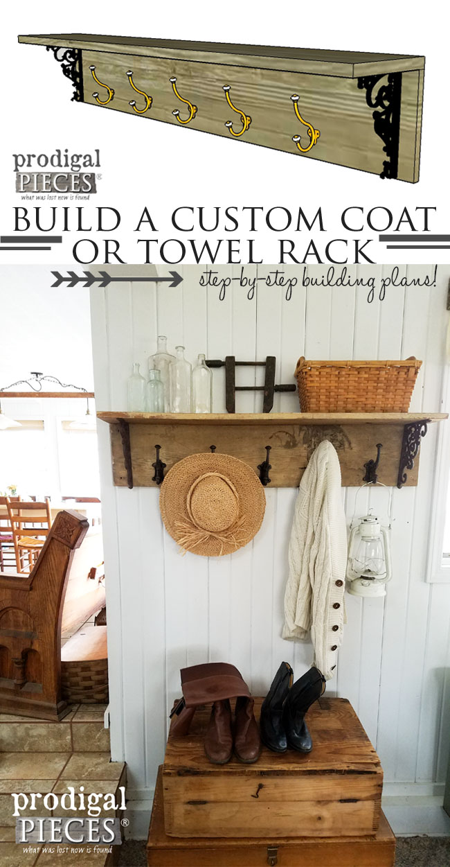 Build a Custom Coat or Towel Rack with these DIY Building Plans by Prodigal Pieces | www.prodigalpieces.com