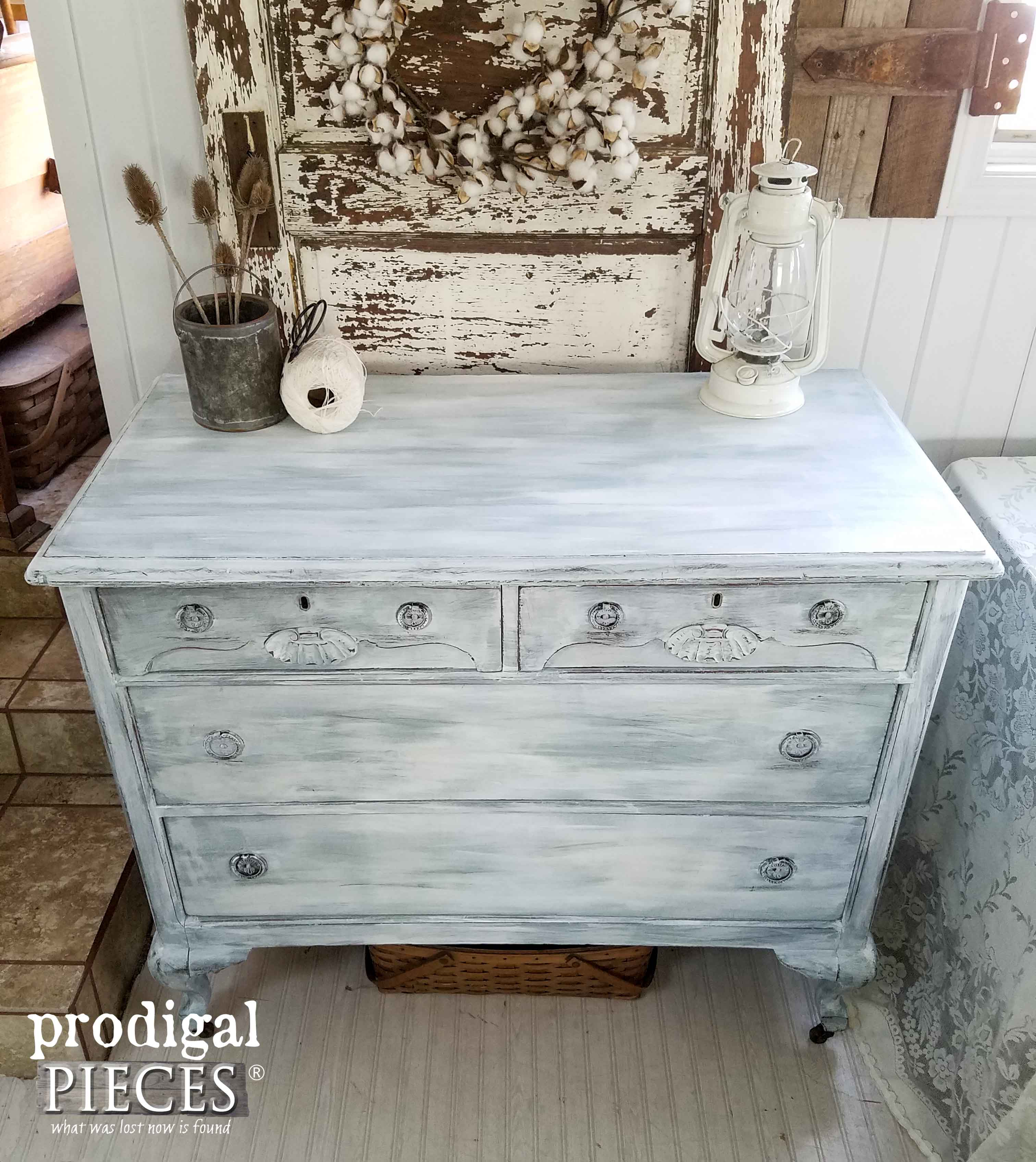 Top of Farmhouse Chic Dresser Made New by Prodigal Pieces | www.prodigalpieces.com