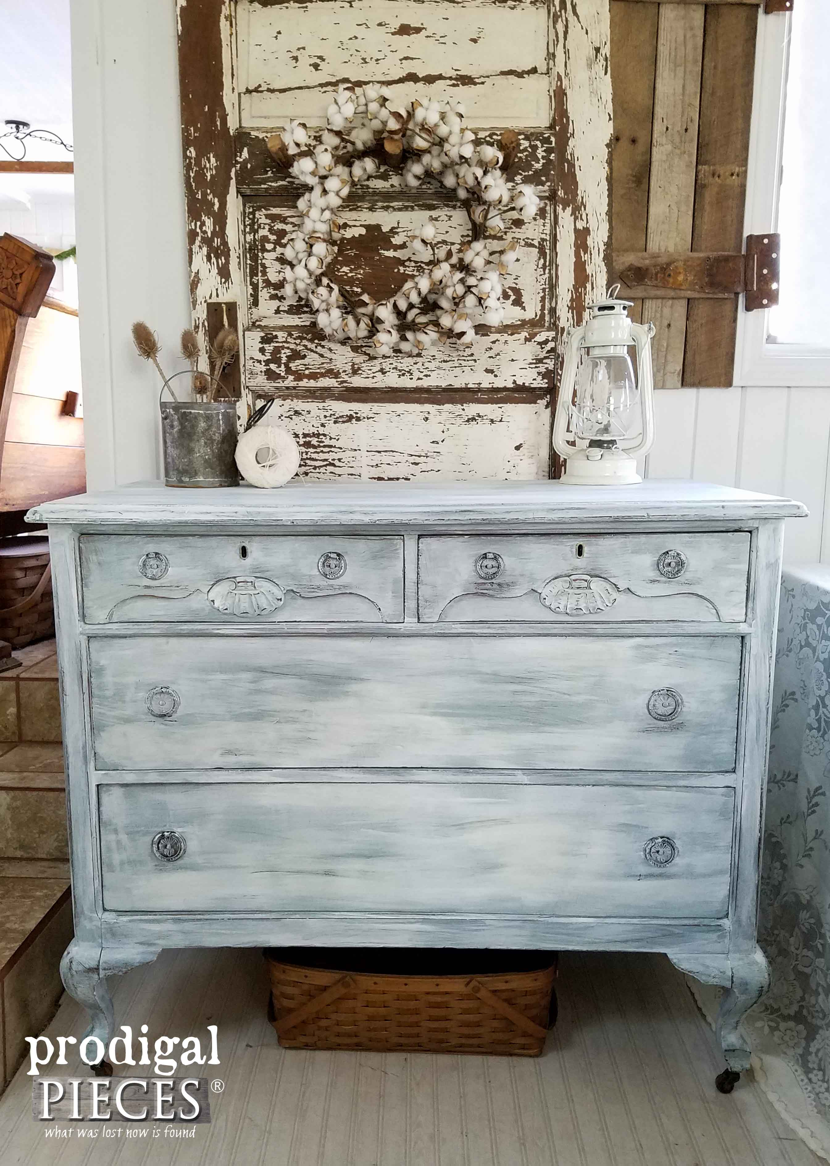 Damaged Dresser Made New with Farmhouse Chic Makeover by Prodigal Pieces | www.prodigalpieces.com