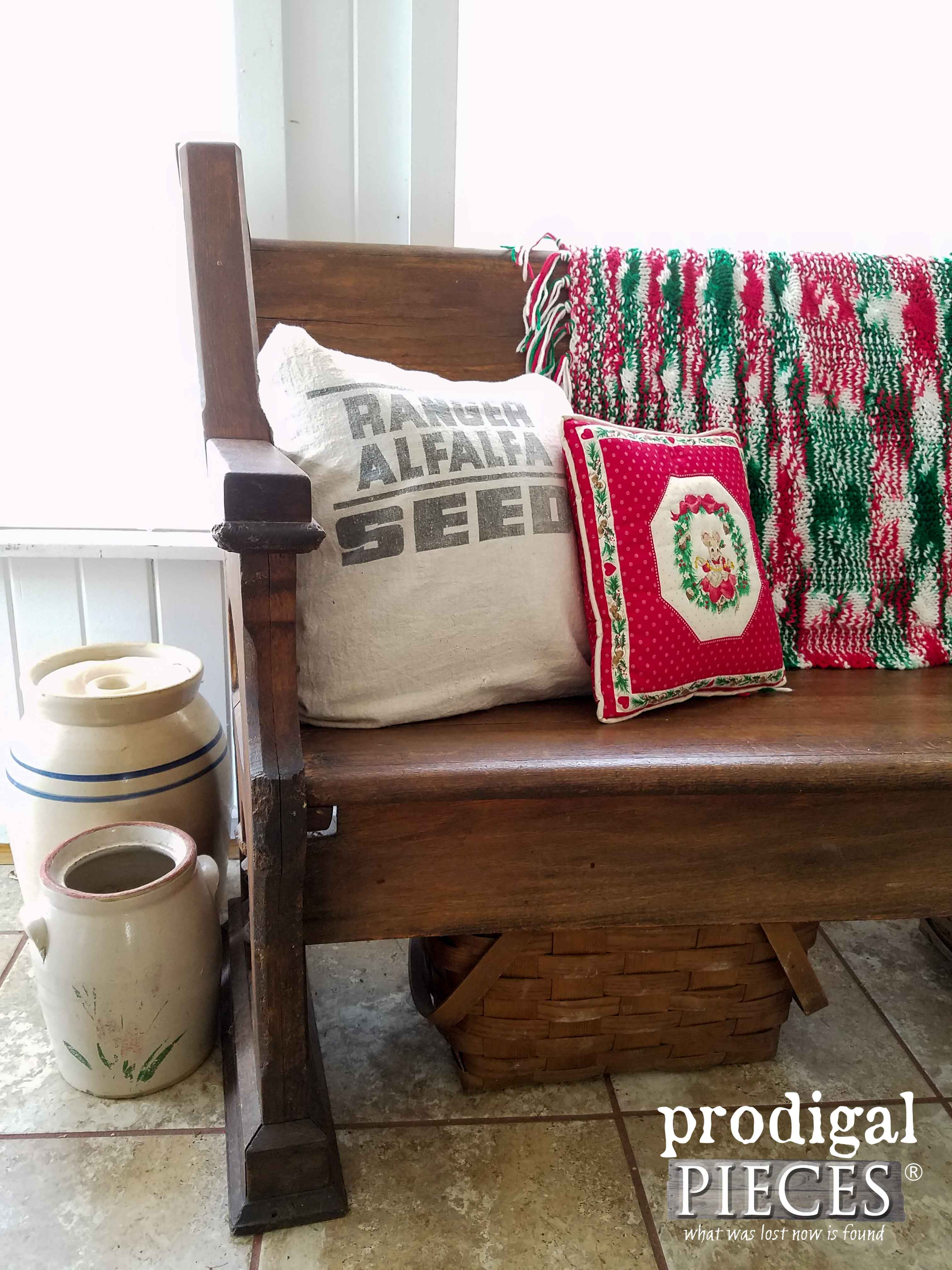 Antique Farmhouse Pew with Rustic Christmas Decor by Prodigal Pieces | www.prodigalpieces.com