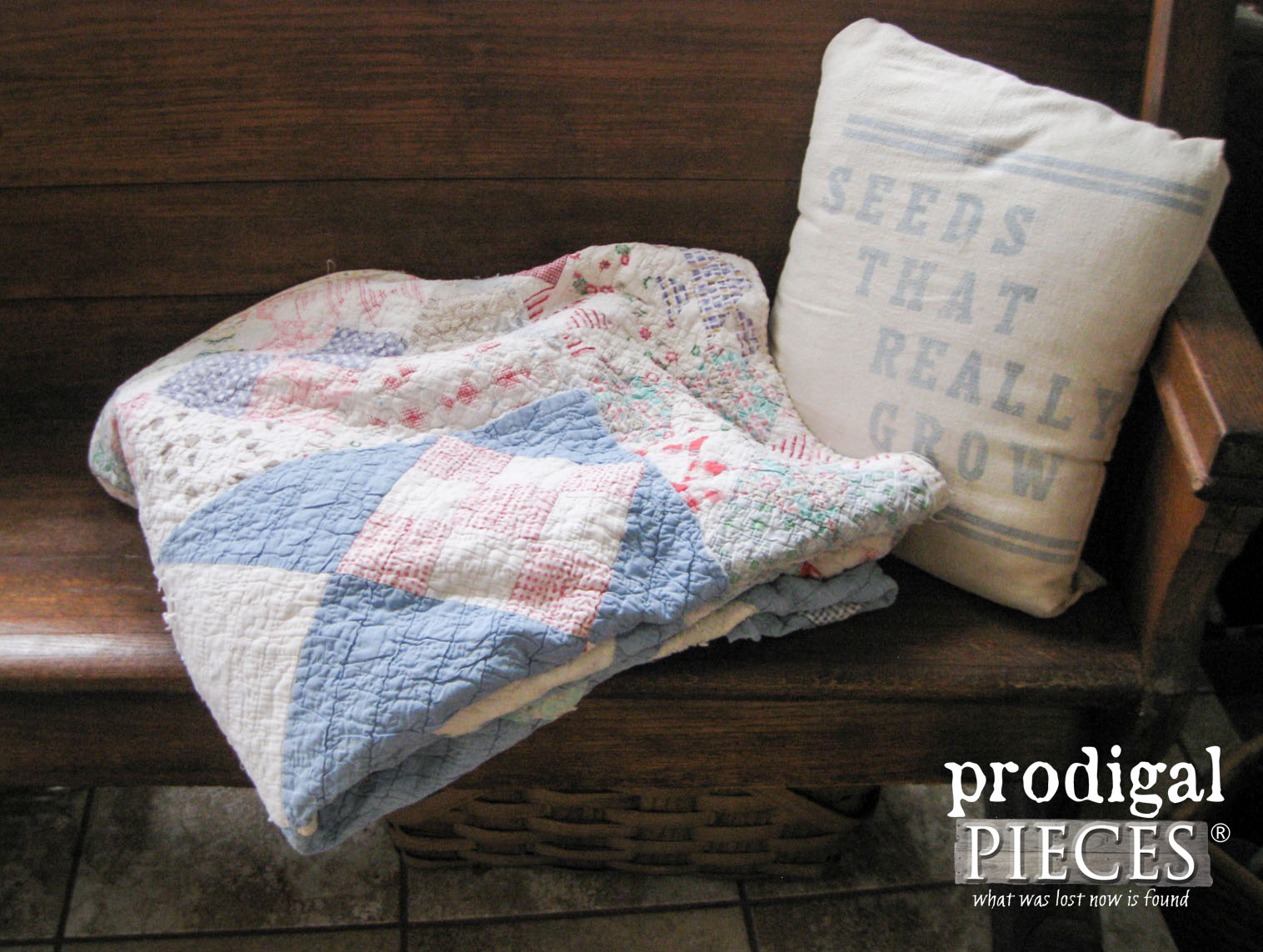 Worn out Handmade Quilt becomes Upcycled Christmas Decor | Prodigal Pieces | www.prodigalpieces.com