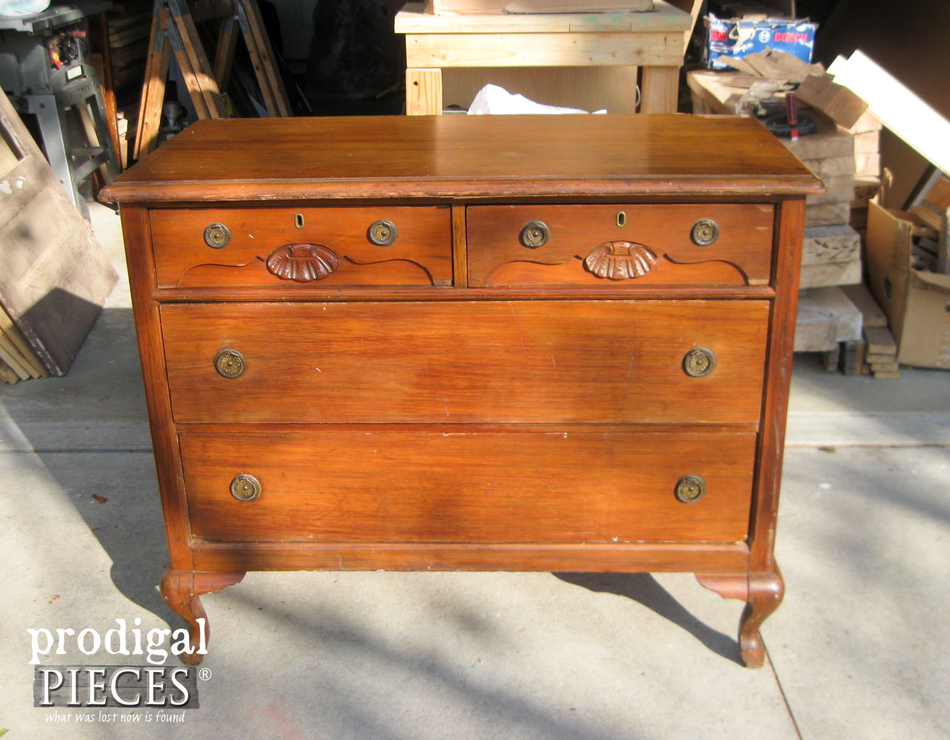 Queen Anne Dresser Before Makeover by Prodigal Pieces | www.prodigalpieces.com