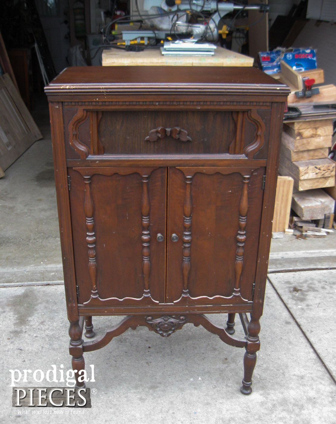 Antique Radio Cabinet Before Repurposed Makeover by Prodigal Pieces | www.prodigalpieces.com