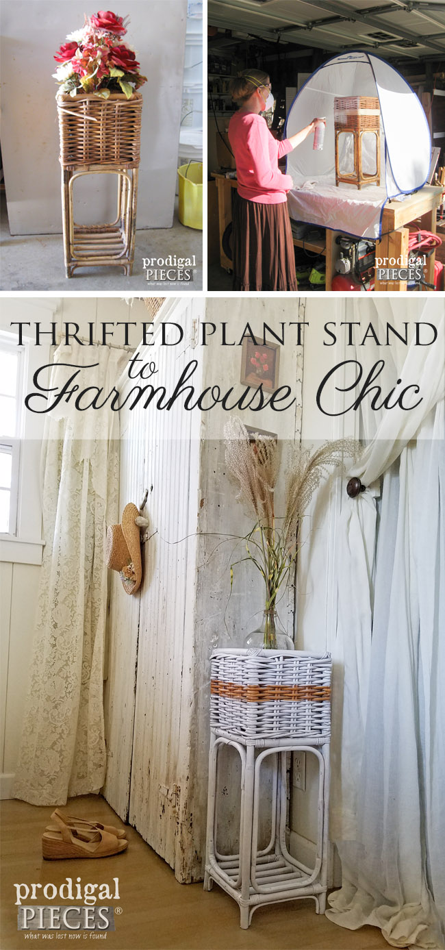 Thrifted Plant Stand Gets Farmhouse Chic Makeover by Prodigal Pieces | www.prodigalpieces.com