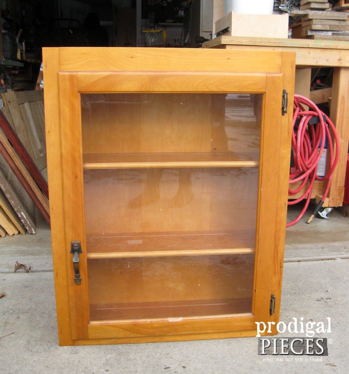 Thrifted Glass Cabinet Before Makeover by Prodigal Pieces | prodigalpieces.com