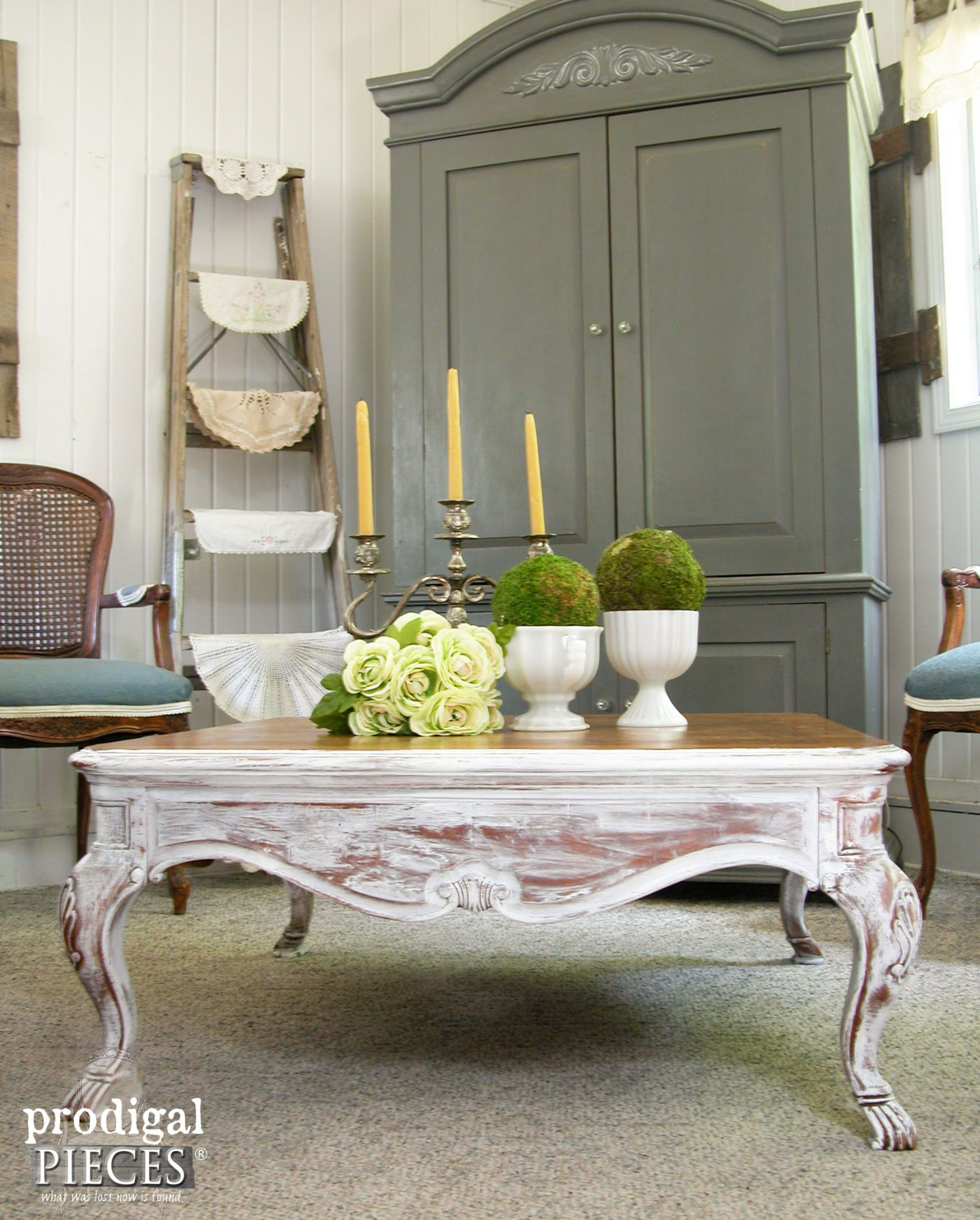 Claw Foot Coffee Table with French Country Style by Prodigal Pieces | prodigalpieces.com