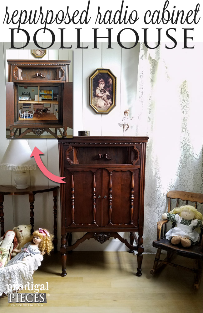 Repurposed Radio Cabinet Turned into Whimsical Dollhouse by Prodigal Pieces | prodigalpieces.com