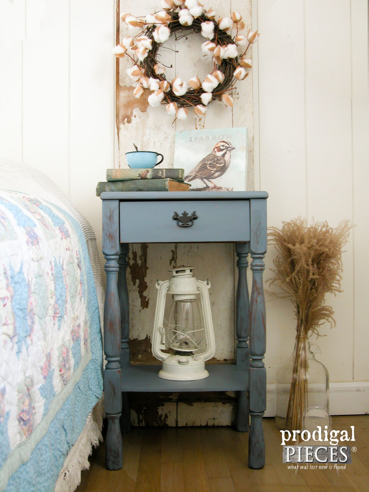 Rustic Farmhouse Country Blue Side Table by Prodigal Pieces | prodigalpieces.com
