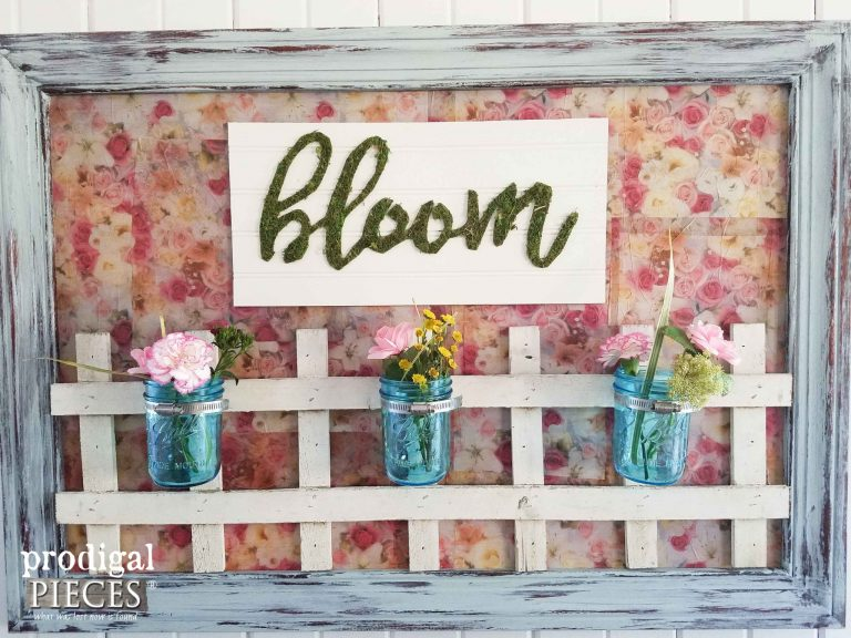 """Bloom"" Wall Art with Ball Jar Vases and Repurposed Parts by Prodigal Pieces 