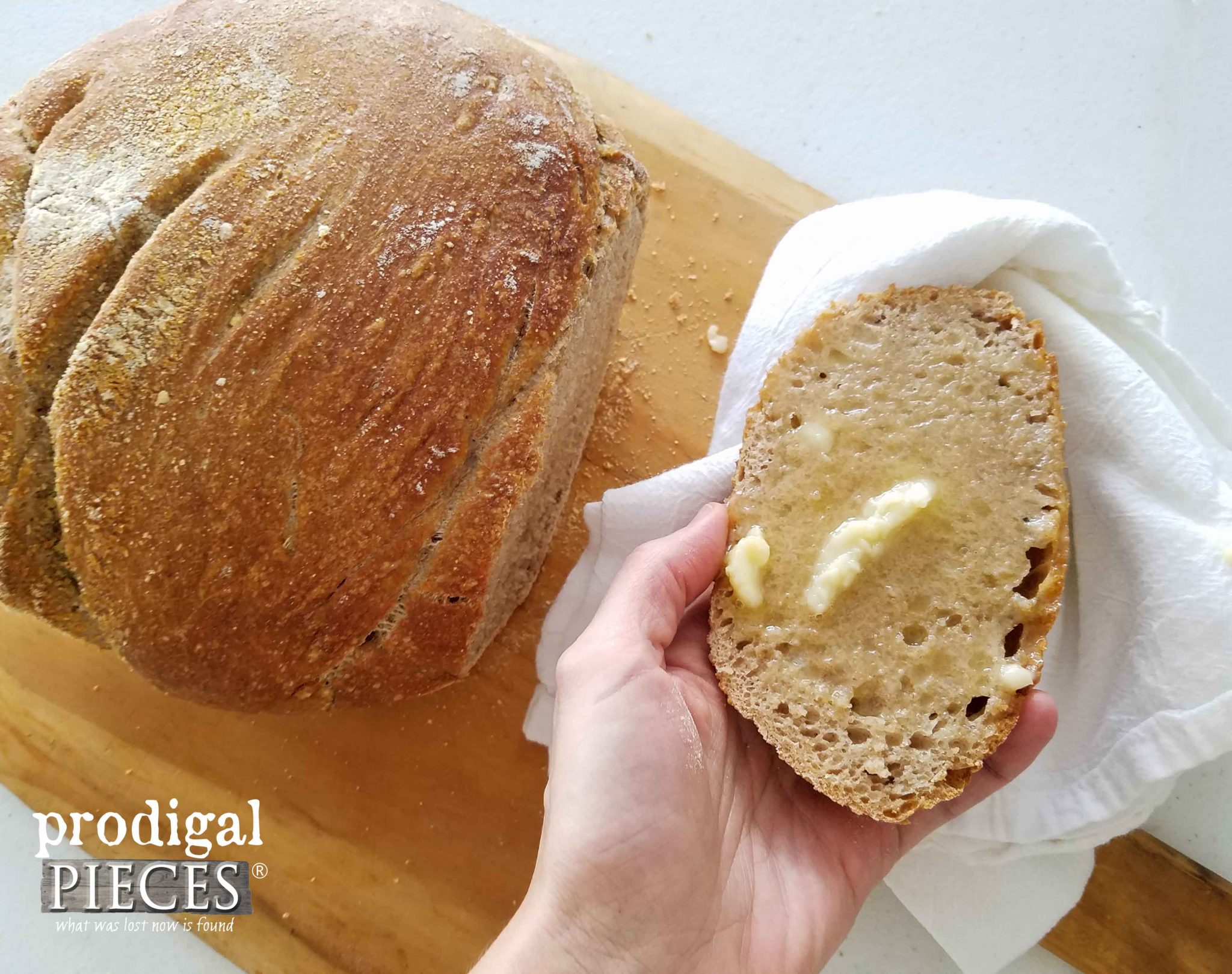 Buttered Whole Wheat Artisan Bread by Prodigal Pieces | prodigalpieces.com