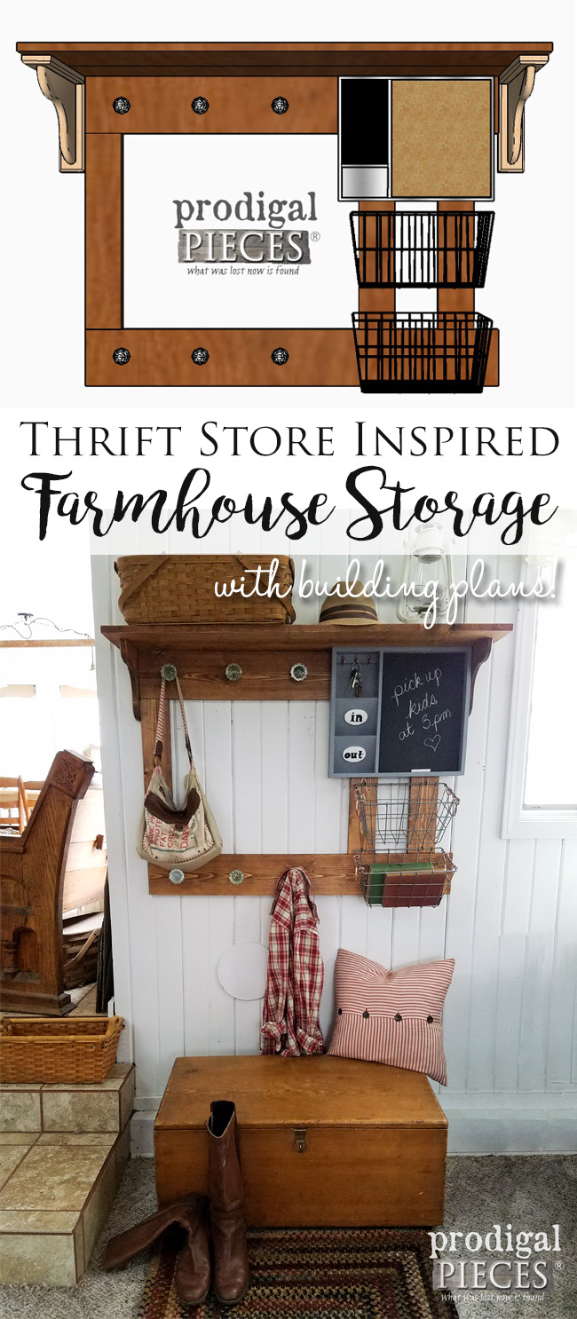 Farmhouse Entry Storage Build Plans and DIY with Thrifted & Dollar Store Finds by Prodigal Pieces | prodigalpieces.com