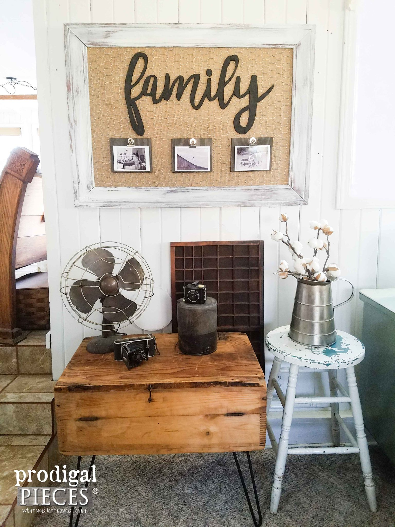 "Reclaimed Framed Wall Art with ""Family"" Memory Board by Prodigal Pieces 