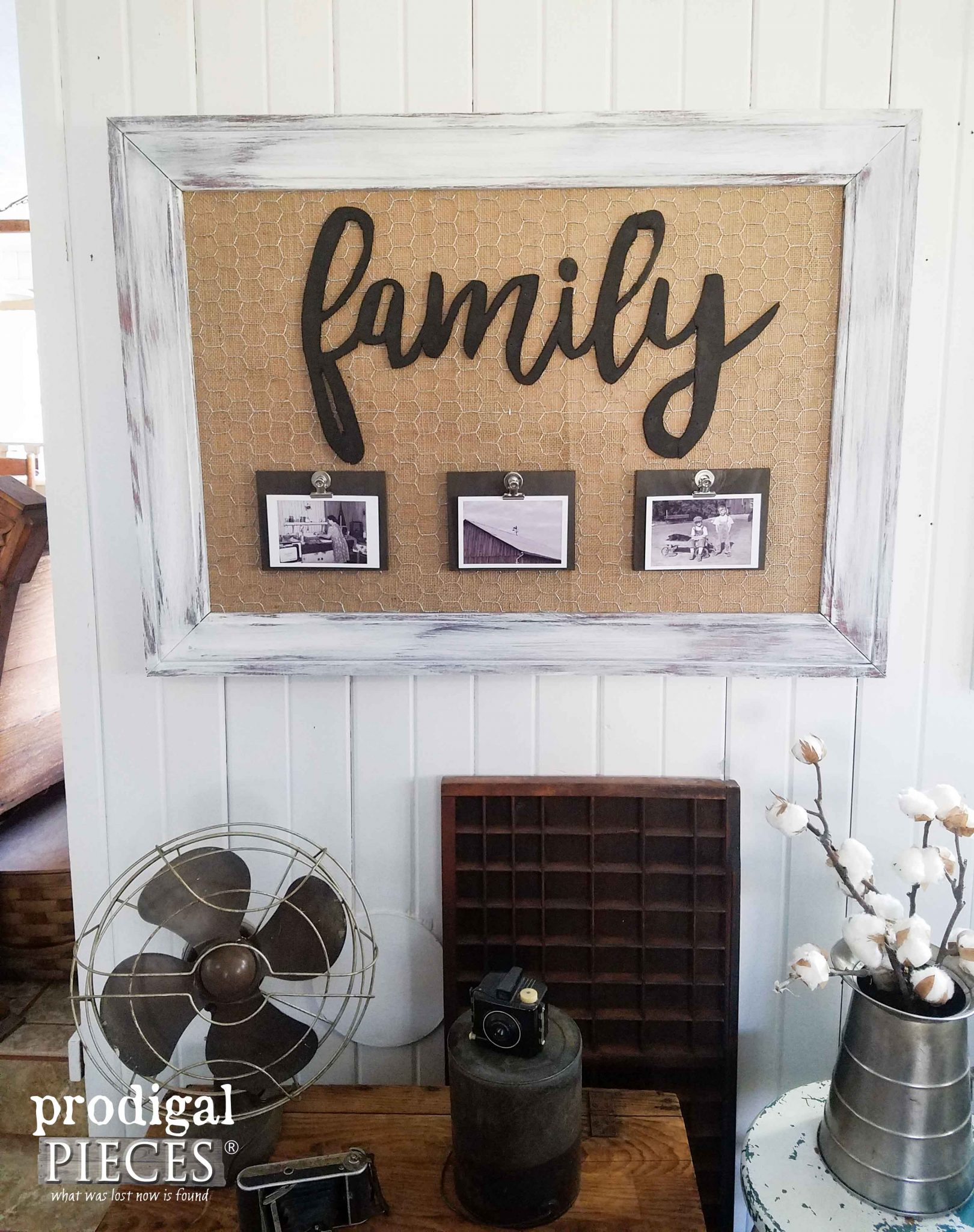 "Framed ""Family"" Wall Art Memory Board by Prodigal Pieces 