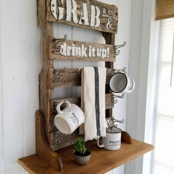 Reclaimed Pallet Wood Mug Rack with Shelf by Prodigal Pieces | prodigalpieces.com