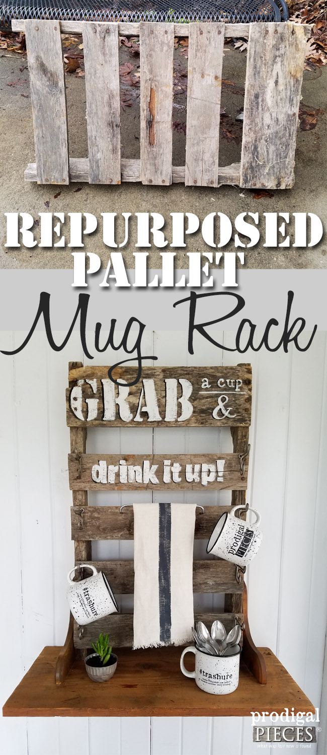 Repurposed Pallet Mug Rack with Mugs by Prodigal Pieces | prodigalpieces.com