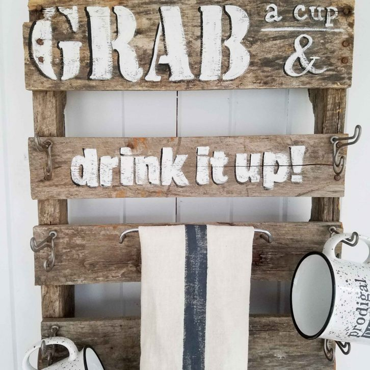 Repurposed Pallet Mug Rack   Prodigal Pieces   prodigalpieces.com