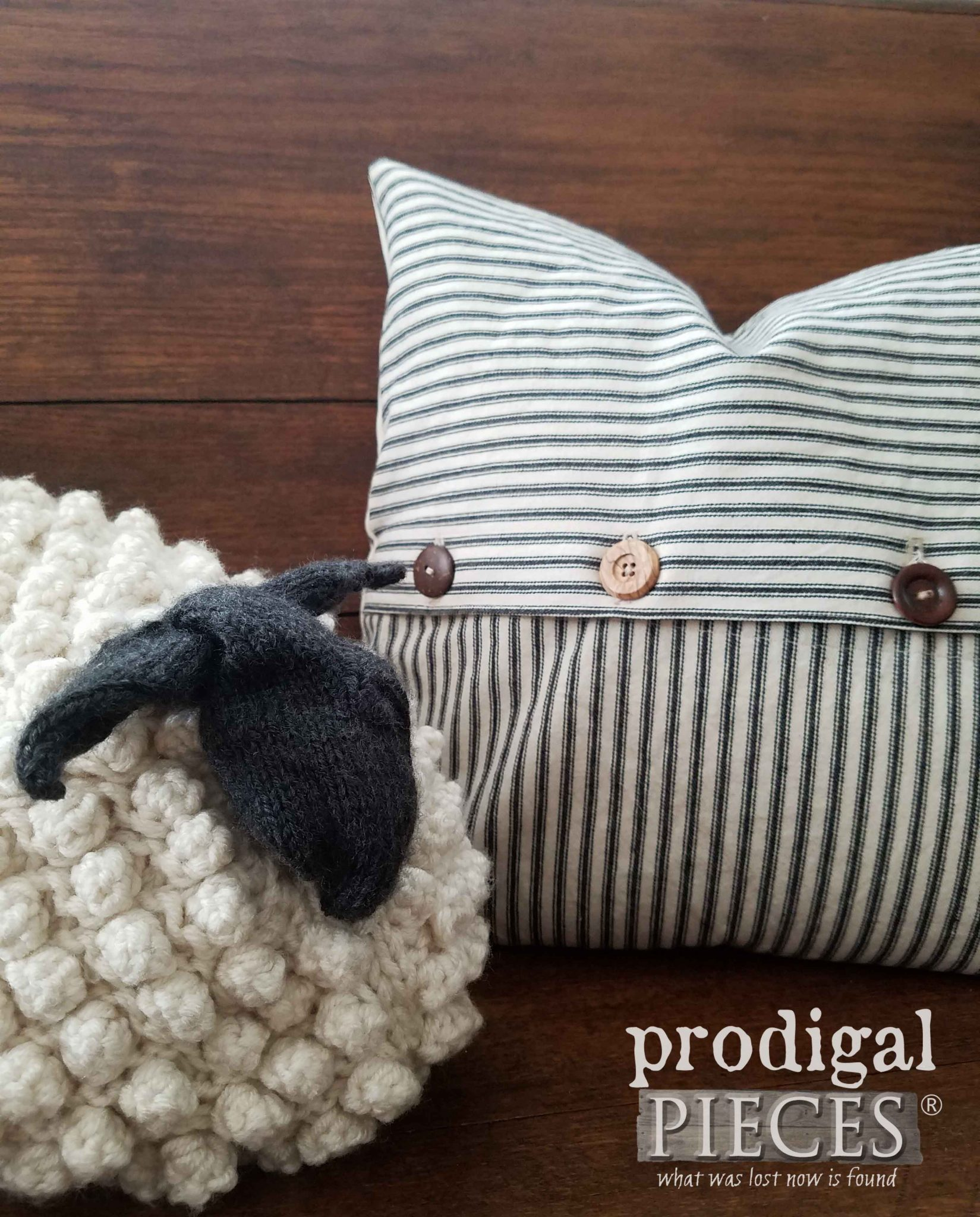 Black & Cream Ticking Pillow available at Prodigal Pieces | prodigalpieces.com