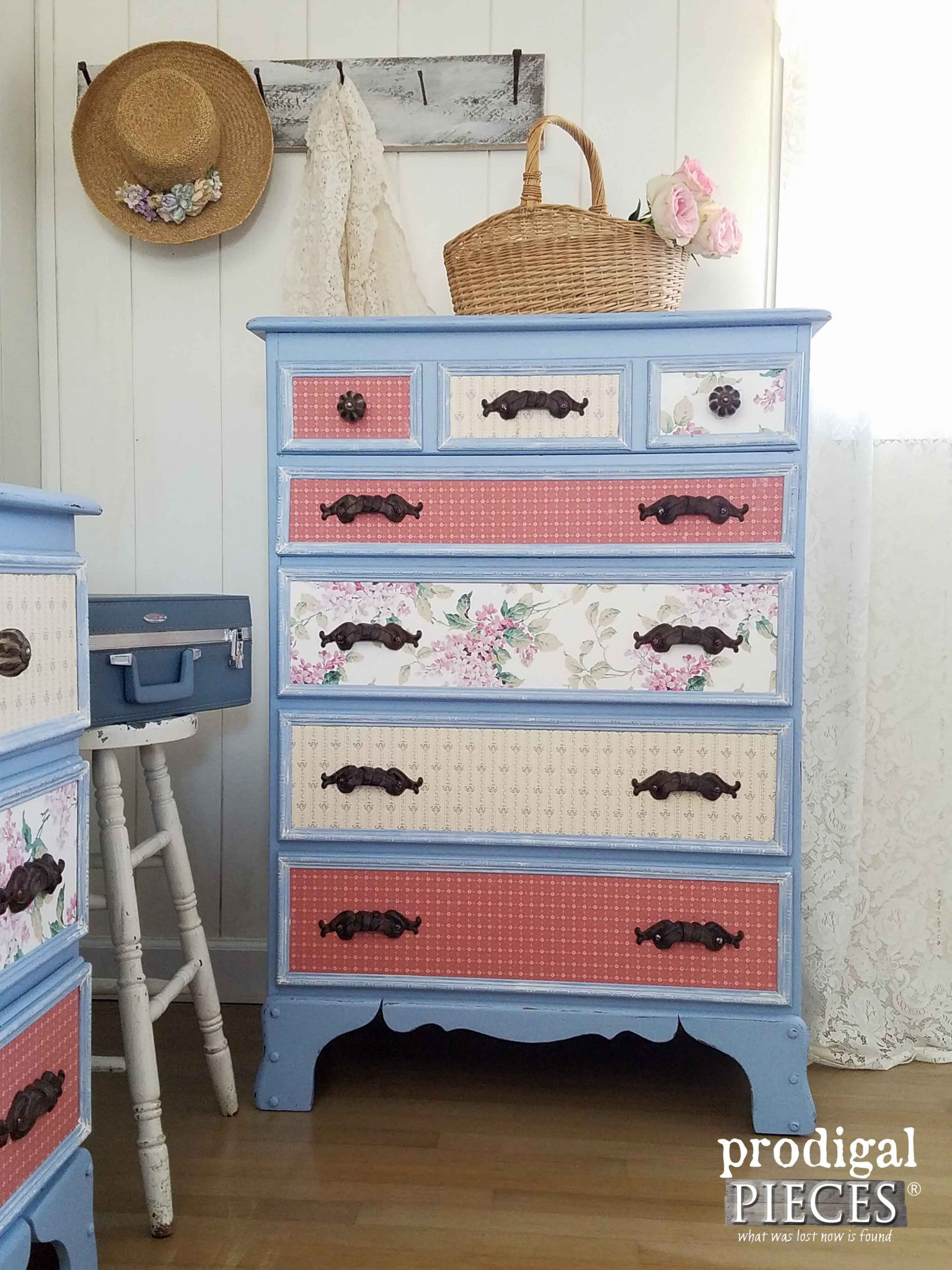 Blue Chest of Drawers for a Girl's Room ~ Makeover by Prodigal Pieces | prodigalpieces.com