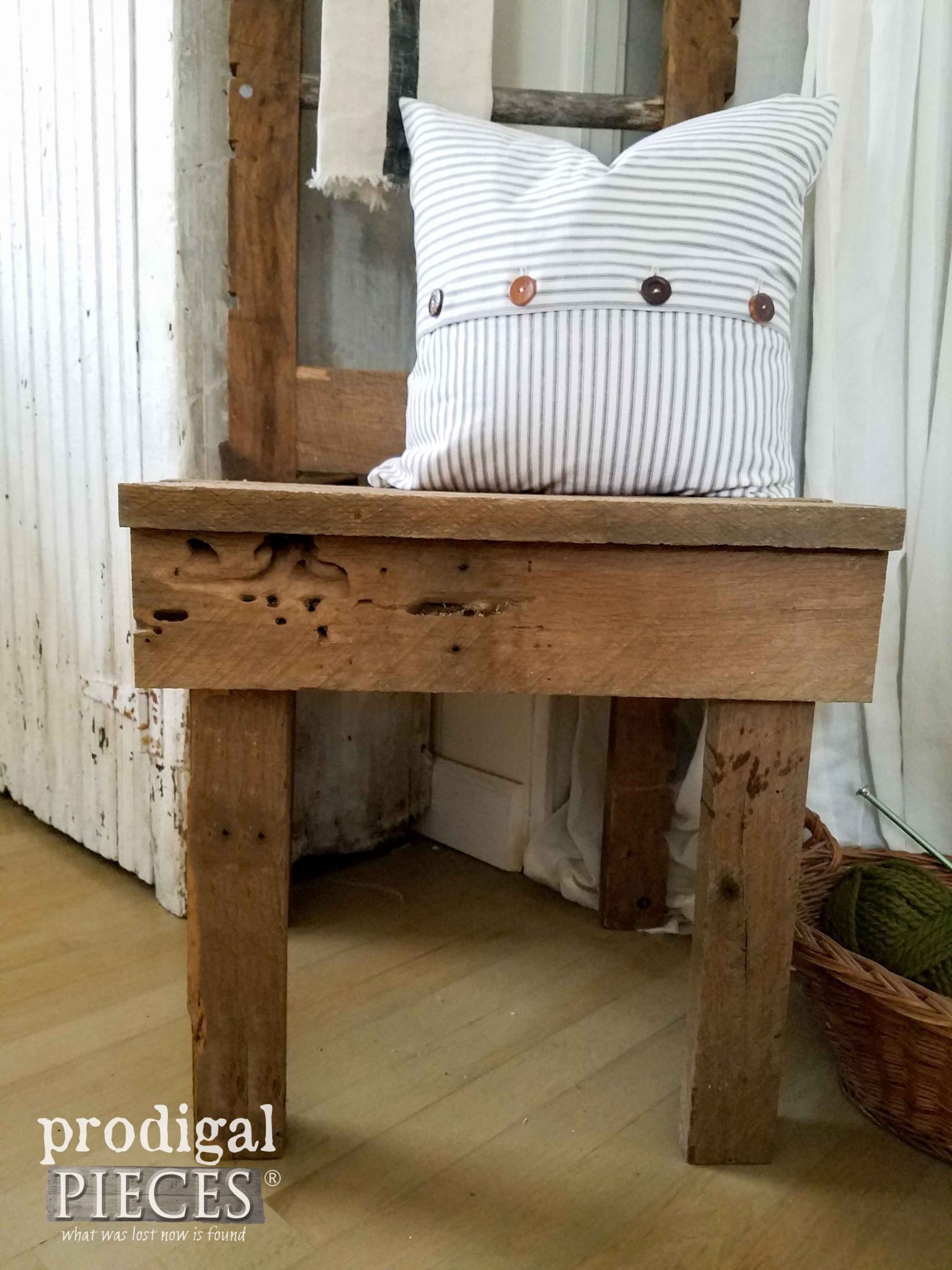 Chair Seat of Reclaimed Wood Creation by Prodigal Pieces | prodigalpieces.com