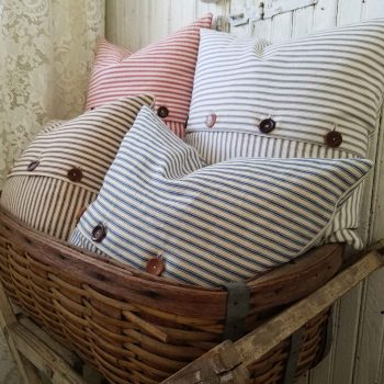 Farmhouse Decor with Ticking Pillows by Prodigal Pieces | prodigalpieces.com