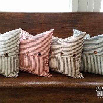 Handmade Farmhouse Ticking Pillow Available at Prodigal Pieces | prodigalpieces.com
