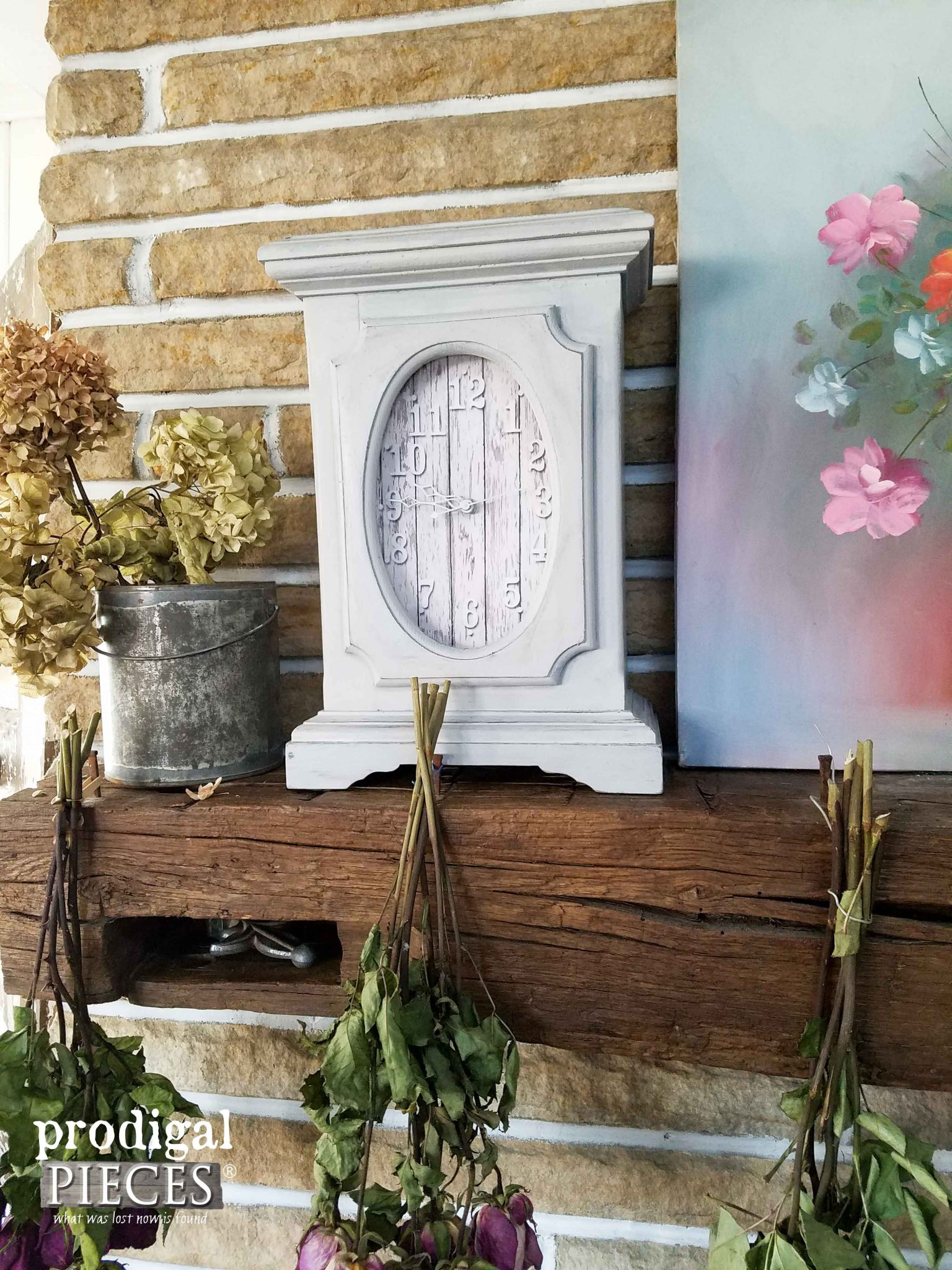 Farmhouse Mantel with Mantel Clock Makeover | Prodigal Pieces | prodigalpieces.com