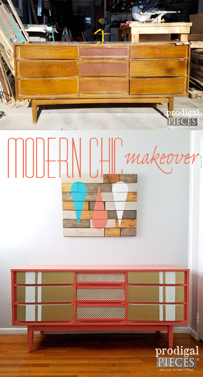 Modern Chic Makeover of a Vintage Mid Century Modern Dresser by Prodigal Pieces | prodigalpieces.com