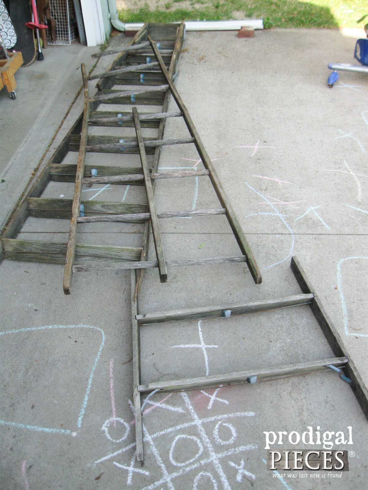 Old Wooden Ladder Salvaged for Parts   Prodigal Pieces   prodigalpieces.com