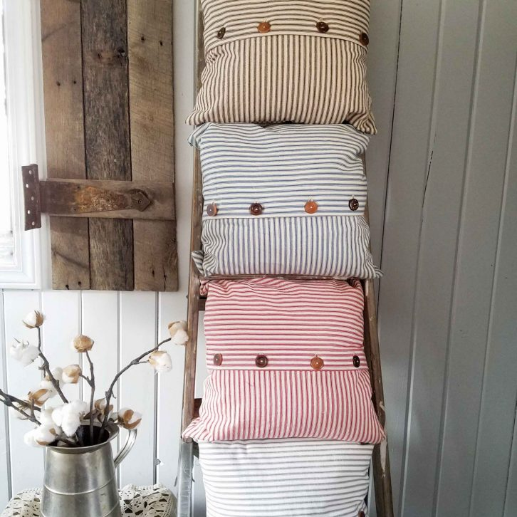Rustic Ticking Pillows by Prodigal Pieces | prodigalpieces.com