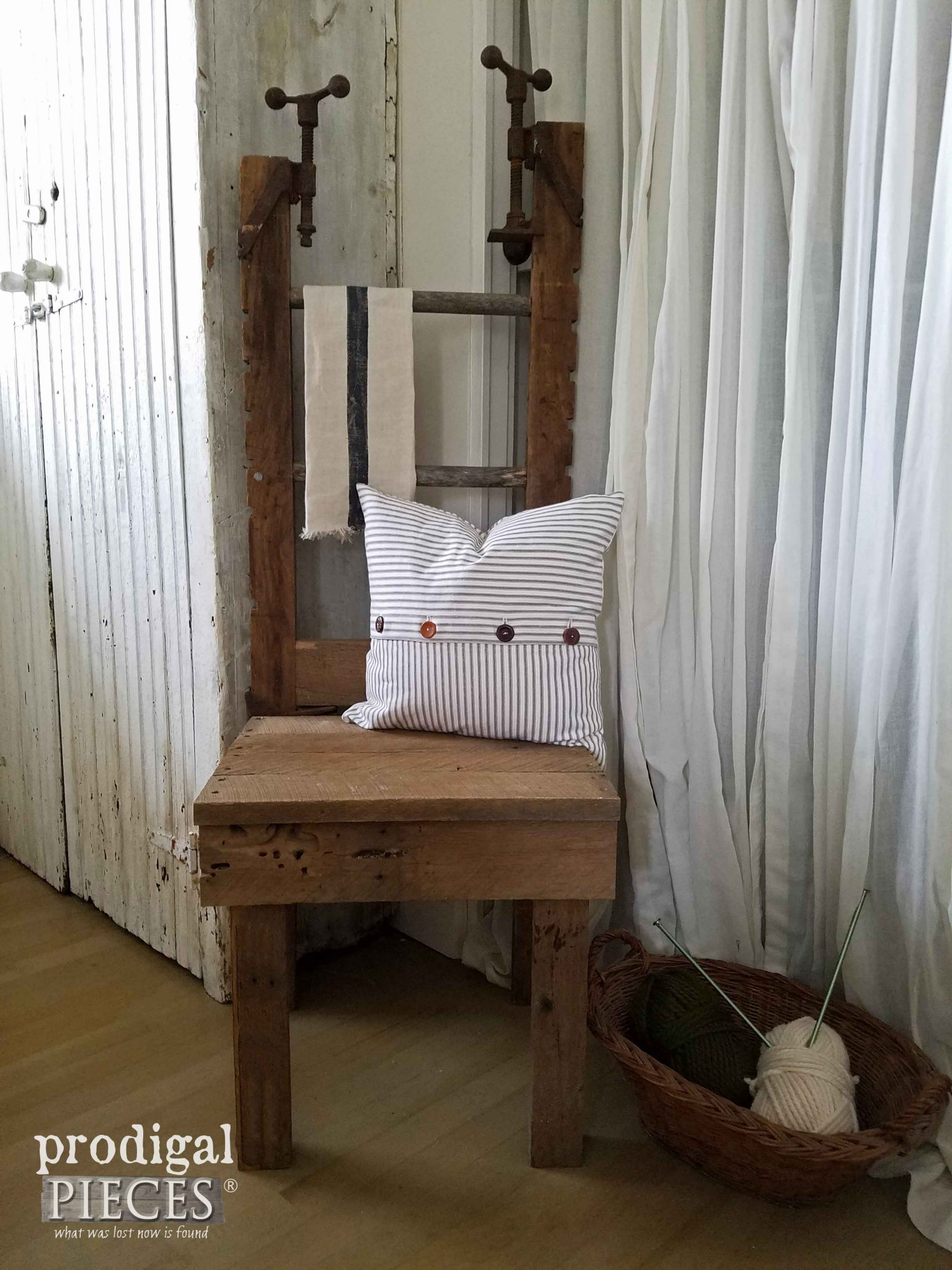 Farmhouse Style Chair Made of Repurposed Materials by Prodigal Pieces | prodigalpieces.com & Antique Clamp Chair Made with Barn Wood - Prodigal Pieces