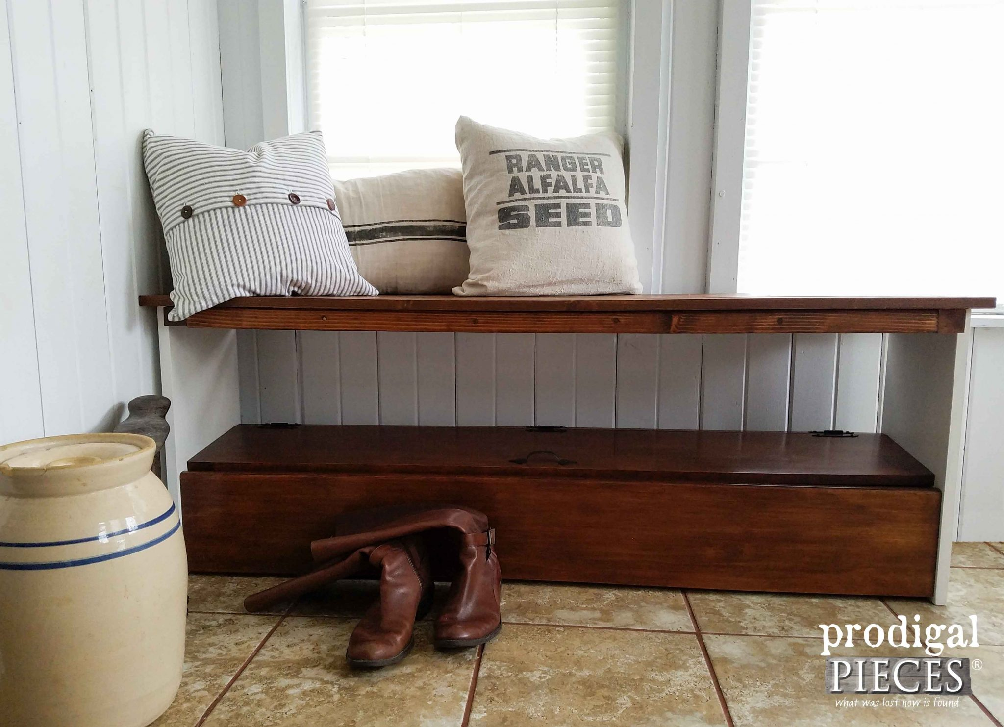 How to Create a Repurposed Bookcase Headboard Bench by Prodigal Pieces | prodigalpieces.com