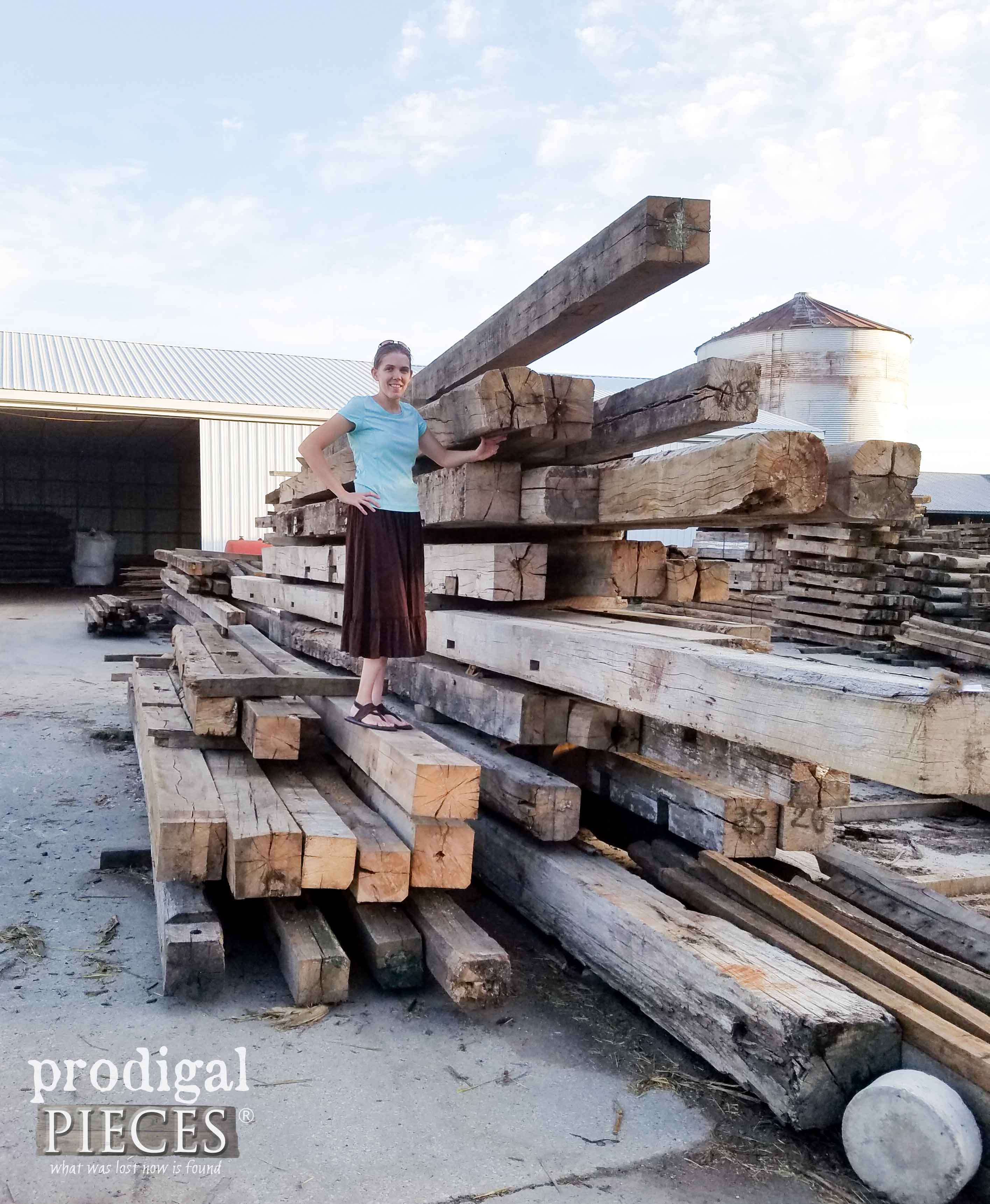 Larissa Haynes Standing on Stack of Reclaimed Barn Wood | Prodigal Pieces | prodigalpieces.com