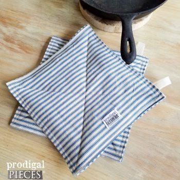 Farmhouse Ticking Pot Holder Trivet Set available at Prodigal Pieces | prodigalpieces.com
